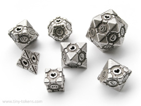 Companion Cube Polyhedral 7 Dice Set (+ decader) in Polished Bronzed Silver Steel: Small
