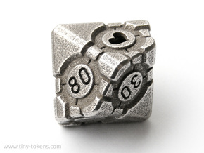 Companion Cube 10D10 (decader) - Portal Dice in Polished Bronzed Silver Steel: Small
