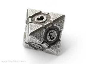 Companion Cube D8 - Portal Dice in Polished Bronzed Silver Steel: Small
