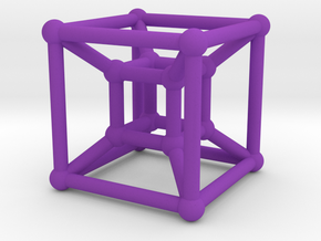 HyperCube (Miniature) in Purple Strong & Flexible Polished