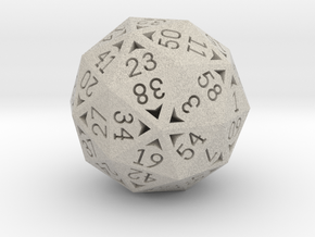 60 Sided Die - Regular in Natural Sandstone