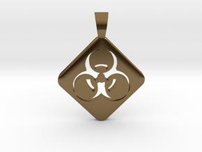 BIOHAZARD ! [pendant] in Polished Bronze
