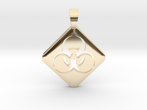 BIOHAZARD ! [pendant] in 14k Gold Plated Brass