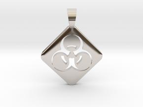 BIOHAZARD ! [pendant] in Rhodium Plated Brass