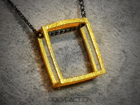 Wire ::: Square Pendant ::: v.01 in Polished Gold Steel