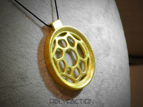 Surround ::: Circle Pendant ::: v.01 in Polished Gold Steel