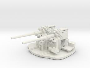 1/72 Scale 3 inch 50 Cal Twin Gun in White Natural Versatile Plastic
