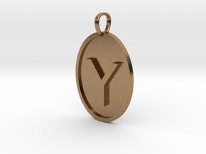 Upsilon Medallion in Natural Brass