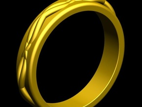 Woven Ring Thick in Polished Gold Steel