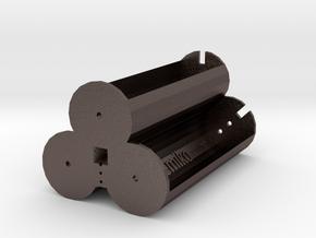 3x 18650 battery 3.7 holder V1 in Polished Bronzed Silver Steel