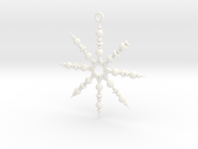 Beaded Snowflake Ornament in White Processed Versatile Plastic