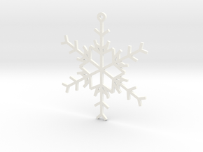 6 Point Snowflake Ornament in White Strong & Flexible Polished