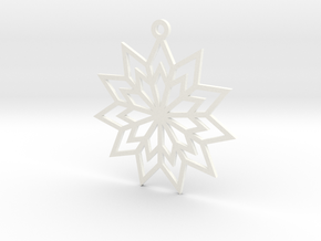 Geometric Flower Ornament in White Processed Versatile Plastic