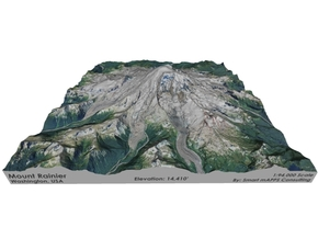 "Mount Rainier Map: 8""x8"" in Matte Full Color Sandstone"