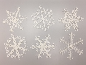 Organic Snowflake Ornaments - Stack of 6 in White Natural Versatile Plastic