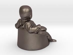 baby boy - 6CM High in Polished Bronzed Silver Steel