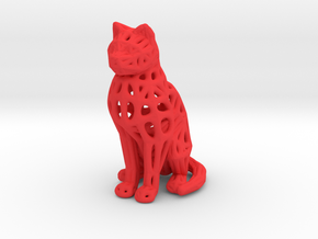 Voronoi Cat Sitting in Red Processed Versatile Plastic