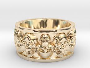 FacedSkull ring in 14K Yellow Gold