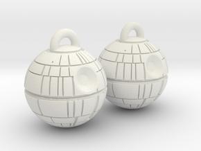 Death Star Earrings in White Natural Versatile Plastic