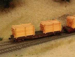 Lumber Load N Scale: 40' Flat Car in Smooth Fine Detail Plastic