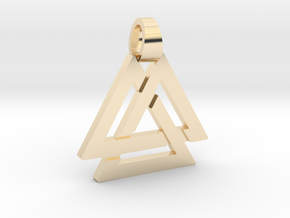 Triple triangle [pendant] in 14k Gold Plated Brass