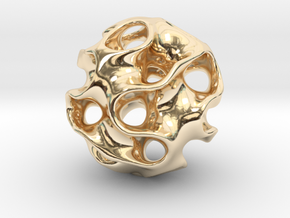 GYROID Spheroid Pendant - 20mm in 14k Gold Plated Brass