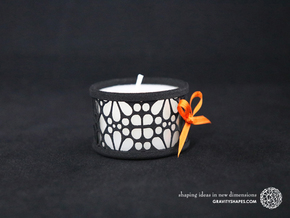 Small tealight holder with Mosaic-3 in Black Natural Versatile Plastic