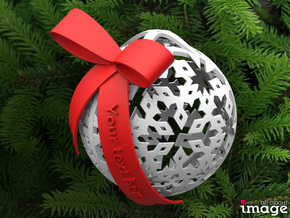 Customizable Christmas Ornament - Snowflakes in White Processed Versatile Plastic