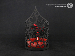 Pointed tealight holder with hearts in White Natural Versatile Plastic