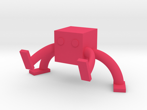 Square Man Card holder in Pink Processed Versatile Plastic
