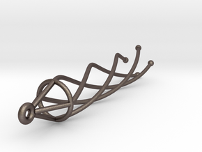 SINGLE Spiral Earring in Polished Bronzed Silver Steel
