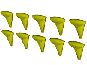1/25 scale WWII era pistol holsters x 10 in Smooth Fine Detail Plastic