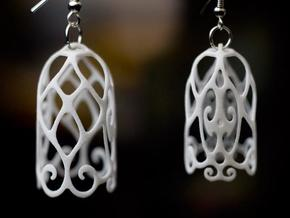 Filigree Bell Shaped Earrings in White Processed Versatile Plastic