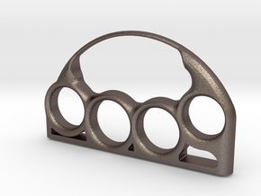Chic Brass Knuckles with Custom Lettering in Polished Bronzed Silver Steel: 7 / 54