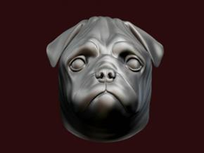 Pug Hood Ornament in White Strong & Flexible