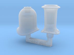 HO C32 Funnel And Steam Dome in Smooth Fine Detail Plastic