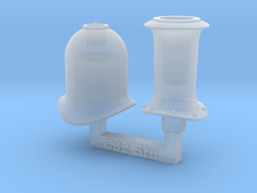 7mm Scale NSWR C32 Funnel & Steam Dome in Smooth Fine Detail Plastic