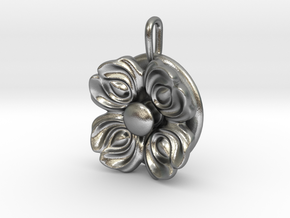 Floral Spinner Pendant in Natural Silver (Interlocking Parts)