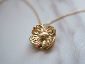 Floral Spinner Pendant in Natural Brass (Interlocking Parts)