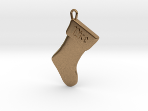 """Nice"" Christmas Stocking Pendant in Natural Brass"