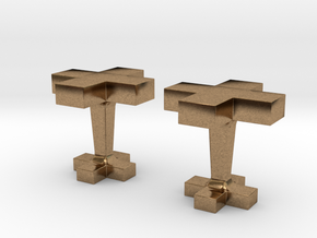 Plus cufflink in Natural Brass
