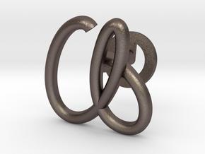 Cursive A Cufflink in Polished Bronzed Silver Steel