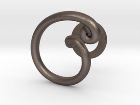 Cursive C Cufflink in Polished Bronzed Silver Steel