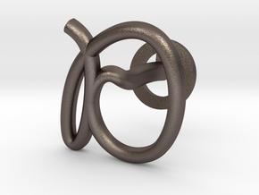Cursive D Cufflink in Polished Bronzed Silver Steel