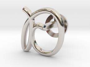 Cursive D Cufflink in Rhodium Plated Brass