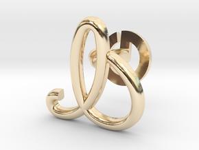 Cursive I Cufflink in 14K Yellow Gold