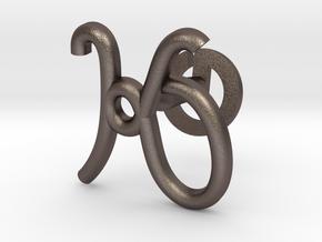 Cursive K Cufflink in Polished Bronzed Silver Steel
