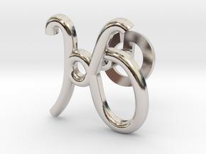 Cursive K Cufflink in Rhodium Plated Brass