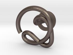 Cursive Q Cufflink in Polished Bronzed Silver Steel