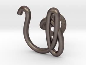 Cursive U Cufflink in Polished Bronzed Silver Steel